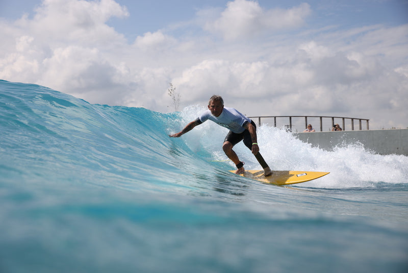 Pegleg surfing at the Wave Bristol during the Adaptive Surf Champs photo by @ImageCabin