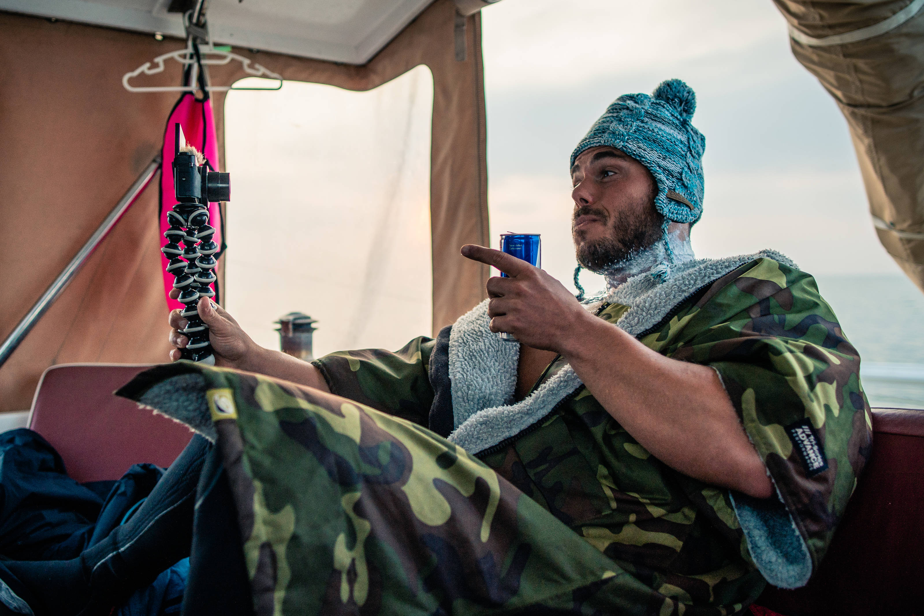 Ross Edgley in his dryrobe. Image courtesy of Red Bull Content Pool