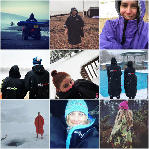 dryrobe, dryrobeterritory, surf, swim, run, explore, adventure, outdoors, snow, cold, changing, robe