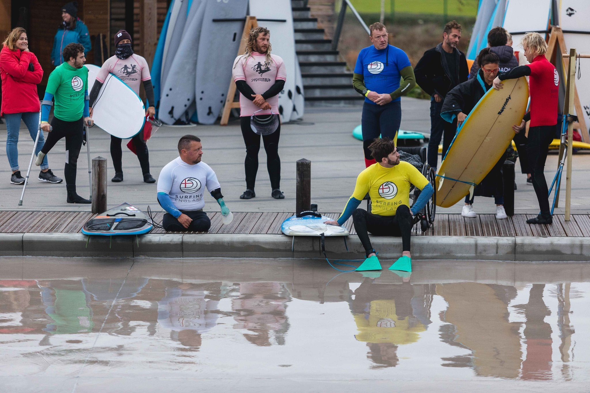Competitors waiting to surf at the 2020 English Adaptive Surf Open