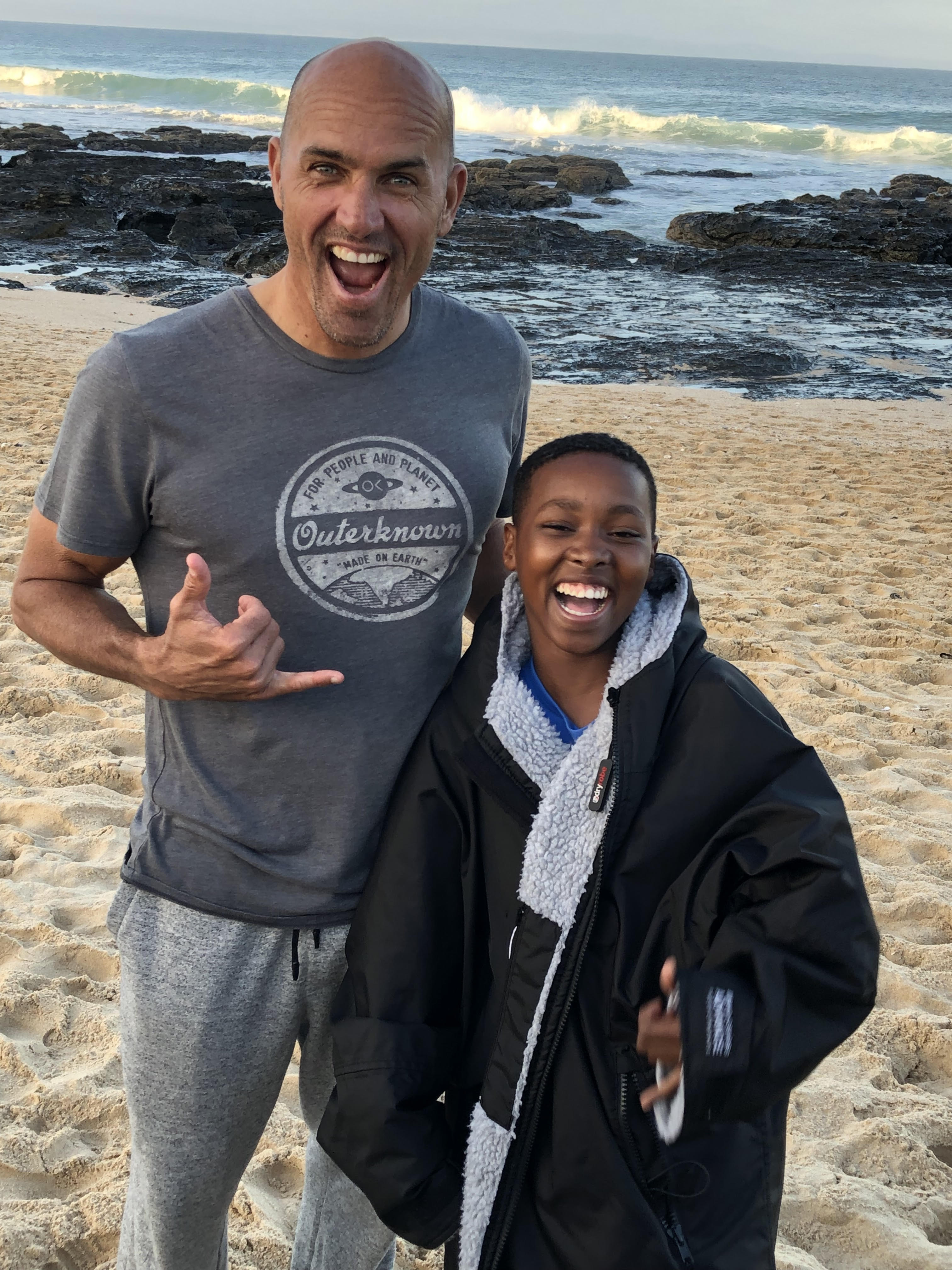 Kelly Slater with Surfers Not Street Children at JBay Open 2019