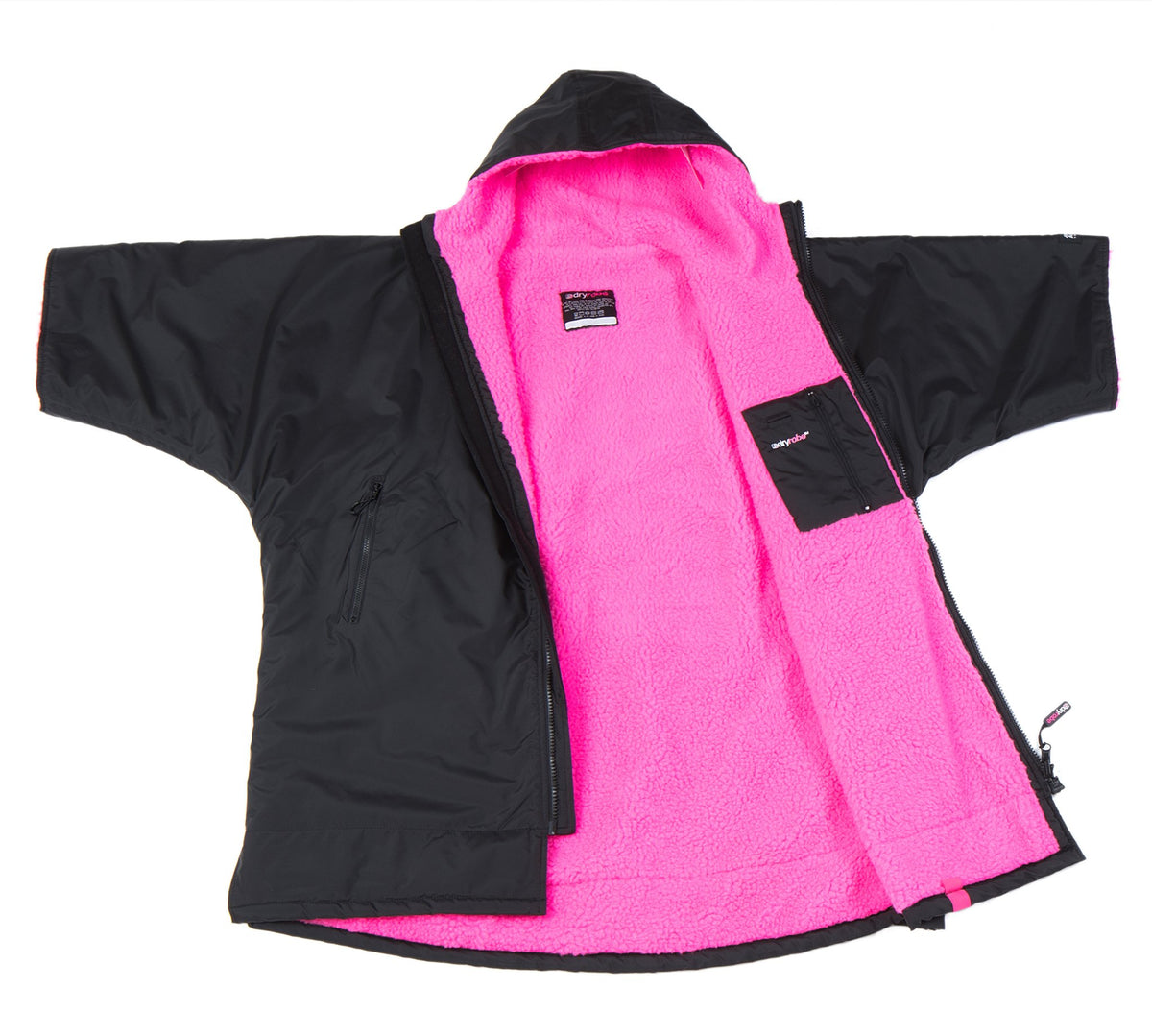 1|S, Kids dryrobe Advance Short Sleeve Black Pink Open