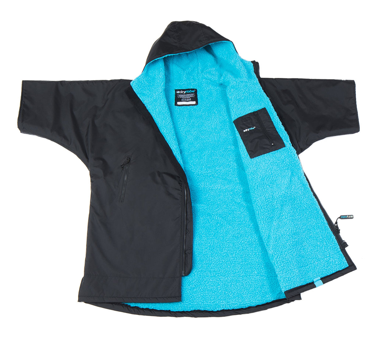 1|S, Kids dryrobe Advance Short Sleeve Black Blue Open