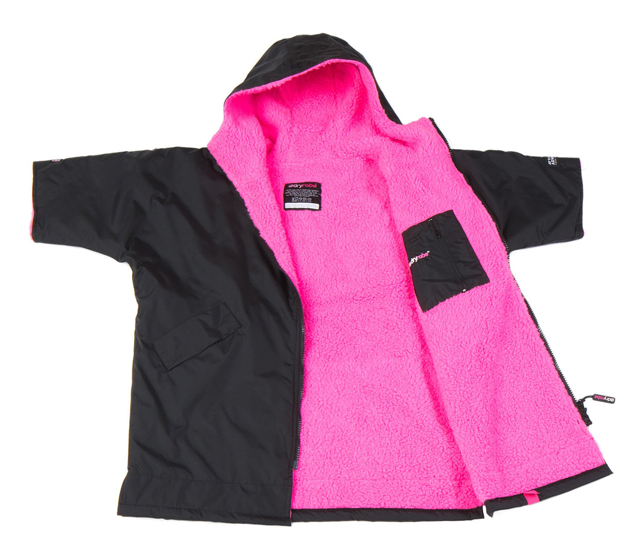 1|XS, Kids dryrobe Advance Short Sleeve Black Pink Open
