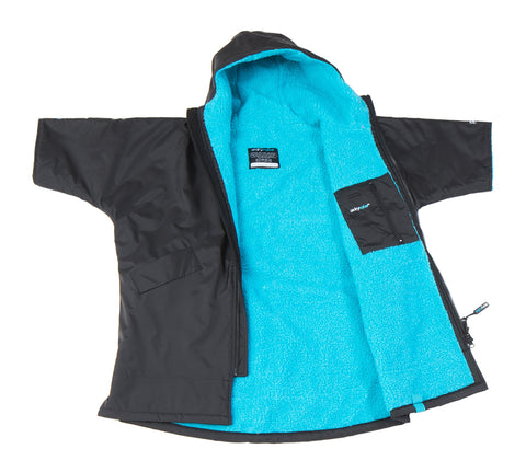 1|S,Kids dryrobe Advance Short Sleeve Black Blue Front