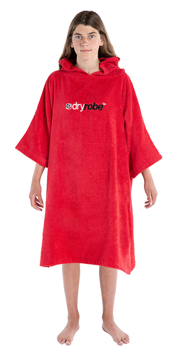 1|S, Kids Organic Cotton Towel dryrobe Red 10-14yrs