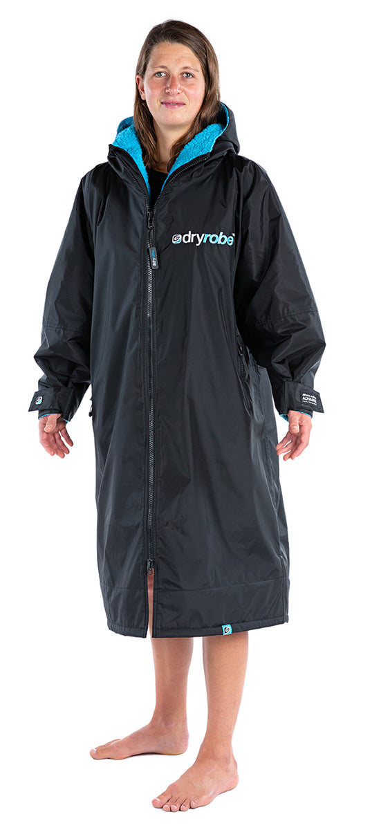 S, dryrobe Advance Long Sleeve Small Black Blue Side View