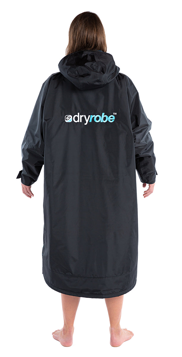 S, dryrobe Advance Long Sleeve Small Black Blue Back View