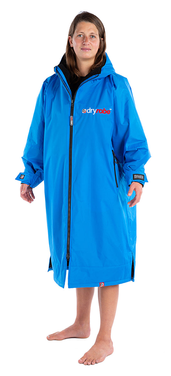 S, dryrobe Advance Long Sleeve Small Cobalt Blue Grey Side