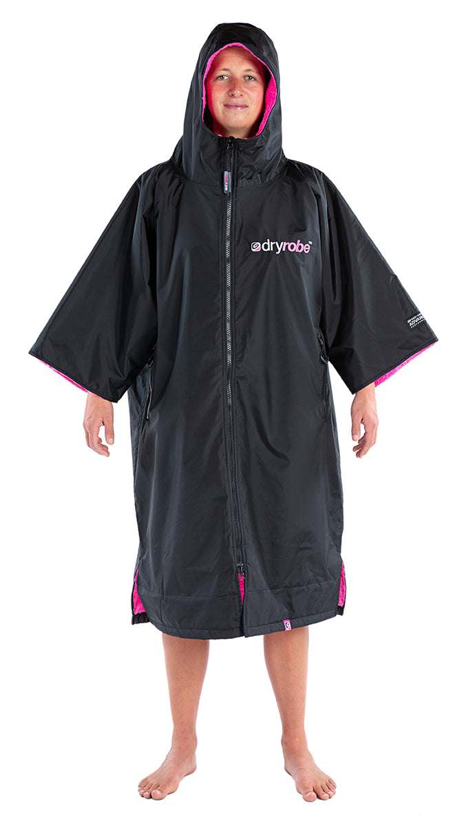 S, dryrobe Advance Short Sleeve Small Black Pink Front Hoop Up