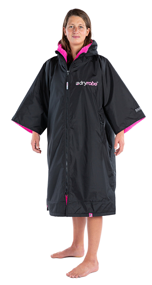 S, dryrobe Advance Short Sleeve Small Black Pink Side Female