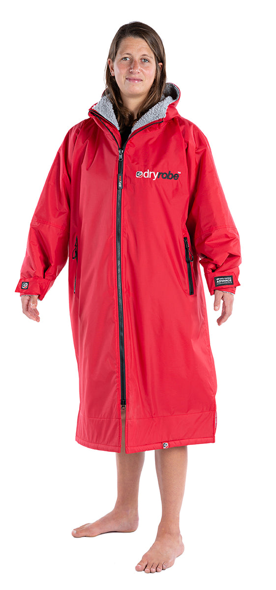 S, dryrobe Advance Long Sleeve Small Red Grey Side View