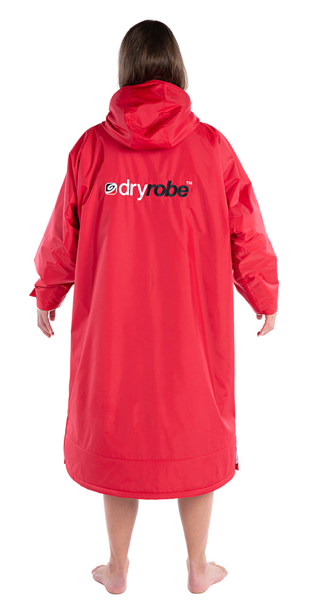 S, dryrobe Advance Long Sleeve Small Red Grey Back