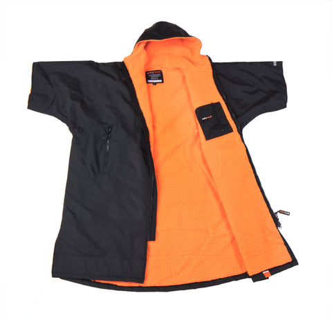 1|S,M, dryrobe Advance Short Sleeve Large Black Orange Open