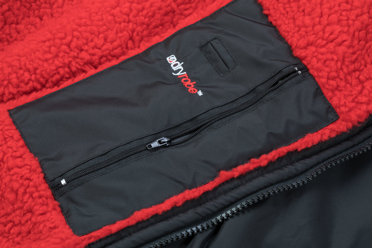 M,L,XL, dryrobe Advance Long Sleeve Black Red Pocket Detail
