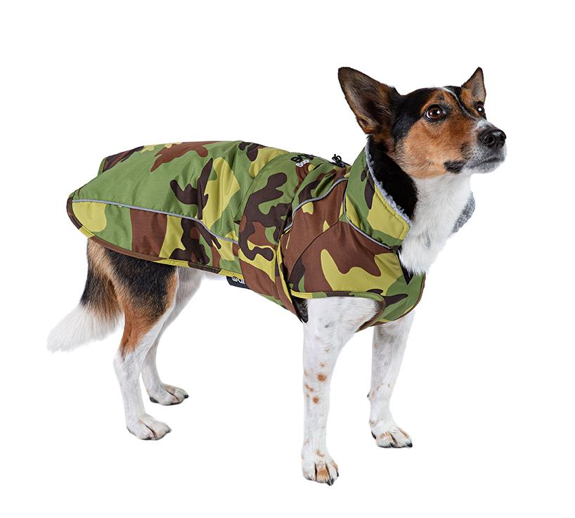 1|M, dryrobe Dog, Camo Grey, side view, Jack Russell