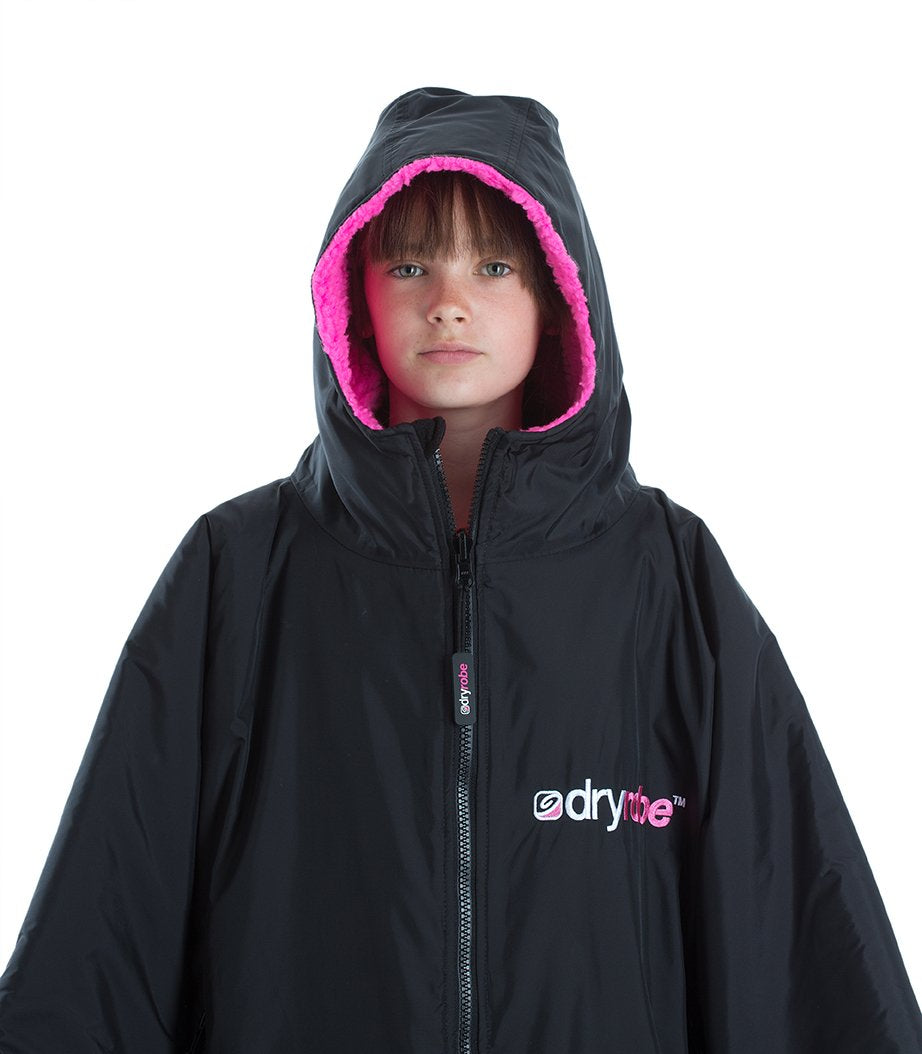 1|S, XS, Kids dryrobe Advance Short Sleeve Black Pink Front Hood Up