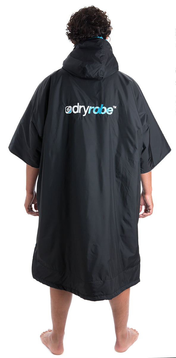 dryrobe Advance Short Sleeve Large Black Blue Back