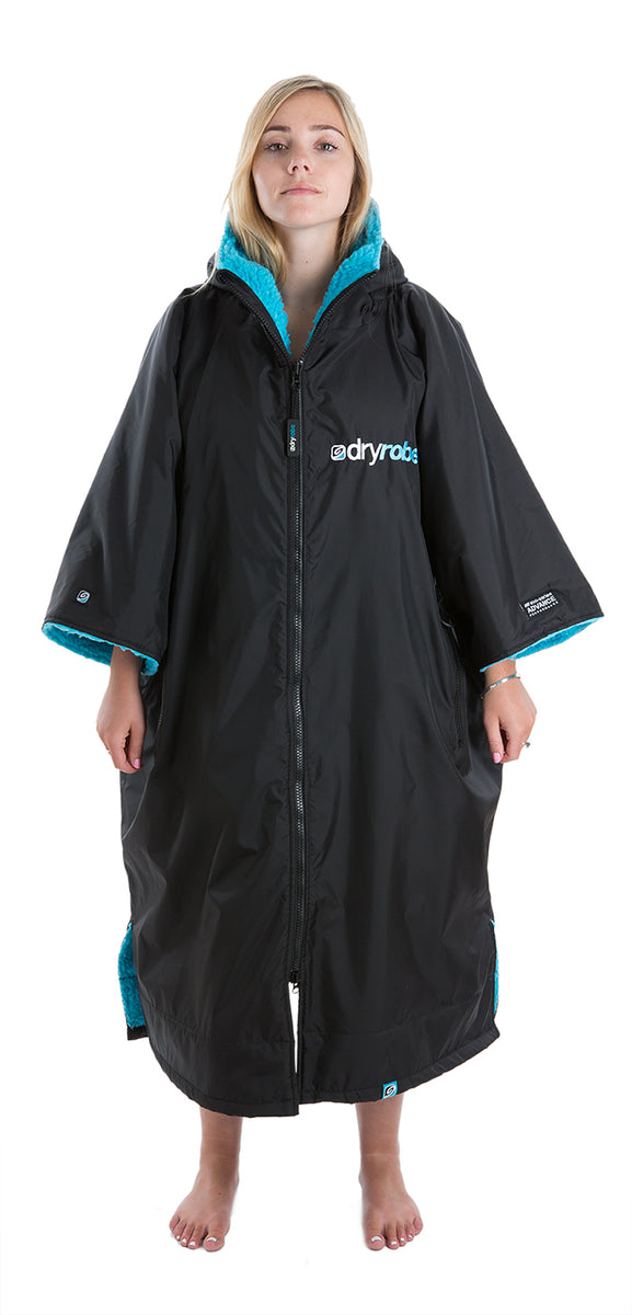 L, dryrobe Advance Short Sleeve Large Black Blue Front Women