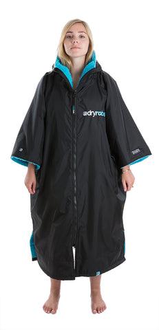 dryrobe Advance Short Sleeve Large Black Blue Front Women