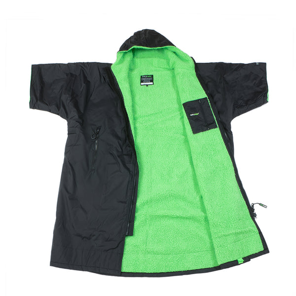 dryrobe Advance Short Sleeve Black Green Open