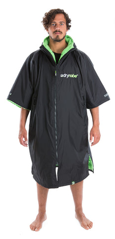 dryrobe Advance Short Sleeve Large Black Green Front