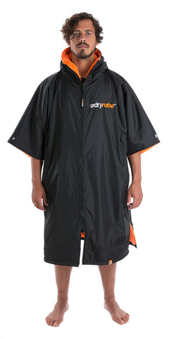 dryrobe Advance Short Sleeve Large Black Orange Front