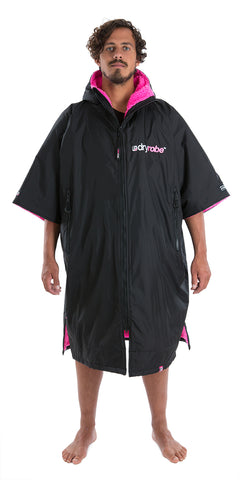 1|L, dryrobe Advance Short Sleeve Large Black Pink Back Front
