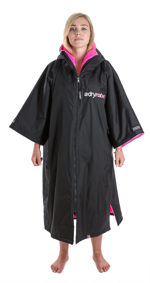 L, dryrobe Advance Short Sleeve Large Black Pink Back Front Women