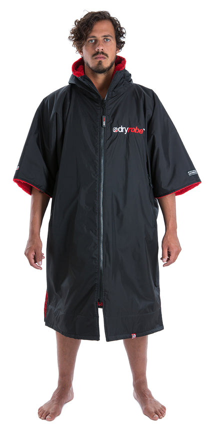 1|L, dryrobe Advance Short Sleeve Large Black Red Front