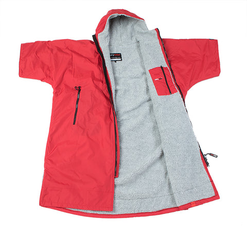 1|L, dryrobe Advance Short Sleeve Red Grey Open