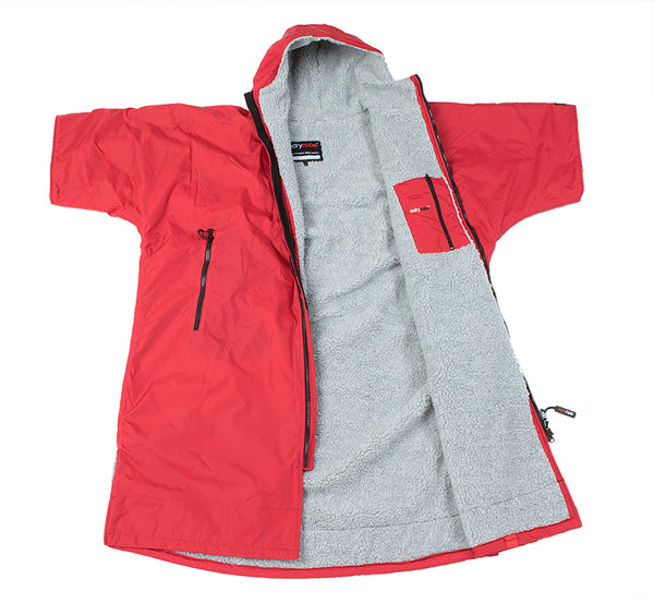 dryrobe Advance Short Sleeve Red Grey Open