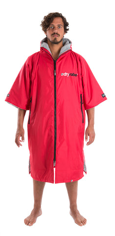 dryrobe Advance Short Sleeve Red Grey Front