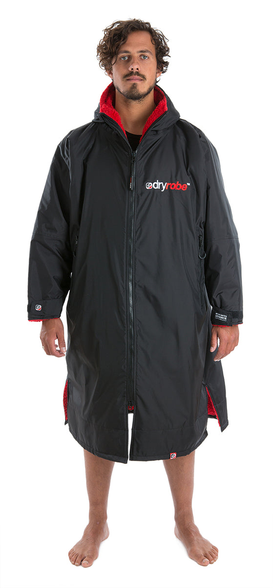 dryrobe Advance Long Sleeve Black Red Large Front