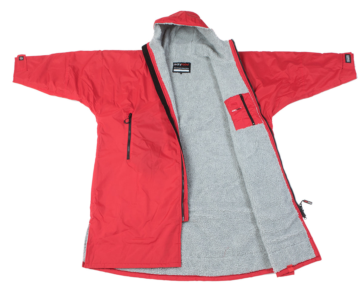 1|S,M,L,XL, dryrobe Advance Long Sleeve Large Red Grey Open