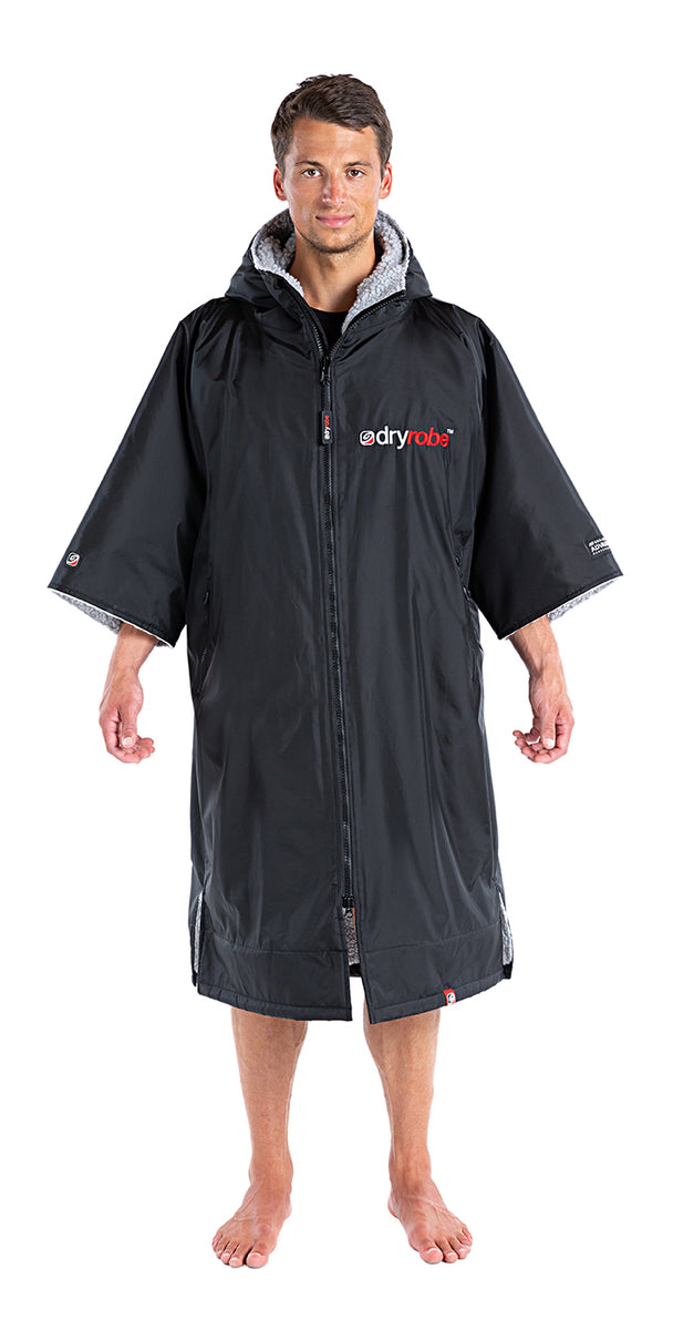 S, dryrobe Advance Short Sleeve Small Black Grey Front
