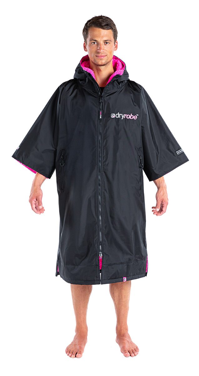 S, dryrobe Advance Short Sleeve Small Black Pink Front Male
