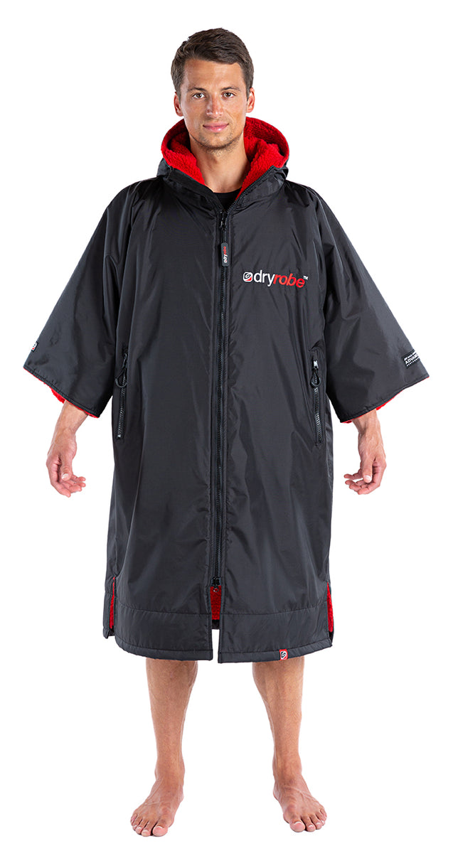S, dryrobe Advance Short Sleeve Small Black Red Front Male