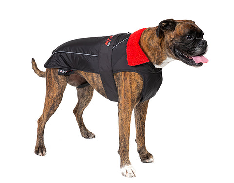 1|L, dog robe black red side Large