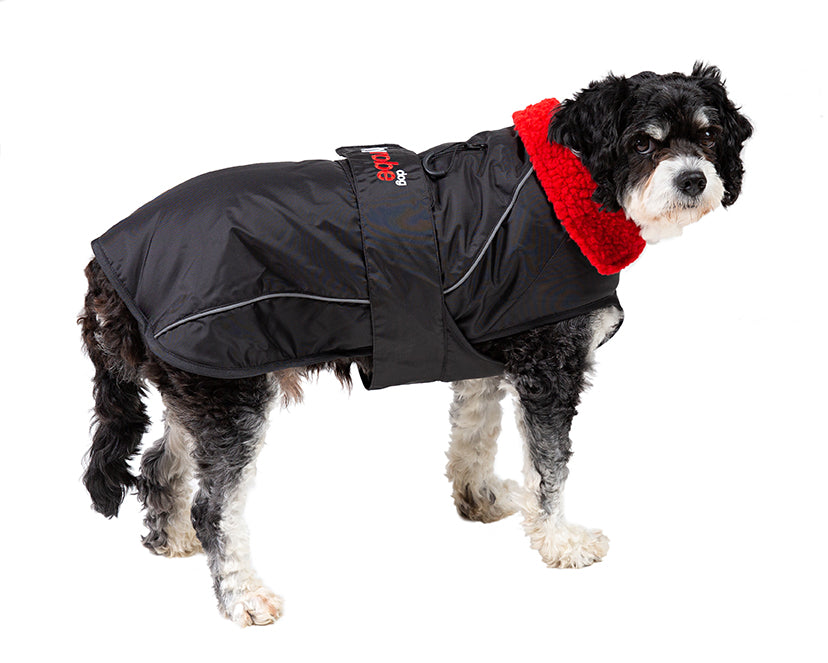 M, dog robe black red side Medium