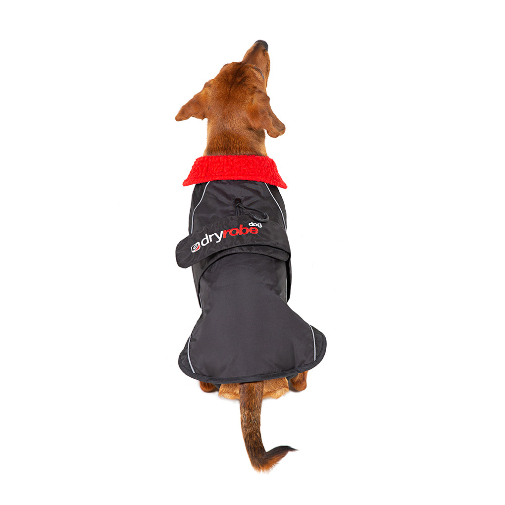 S, dog robe black red back Small