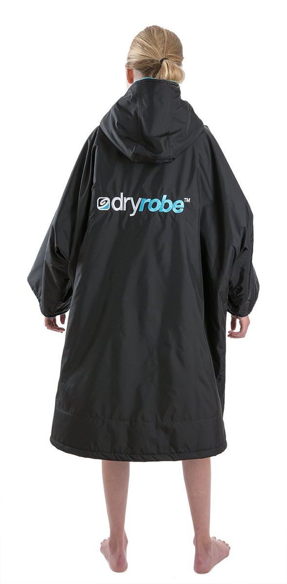 1|S,Kids dryrobe Advance Short Sleeve Black Blue Back
