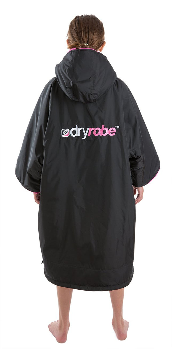 1|S, Kids dryrobe Advance Short Sleeve Black Pink Back