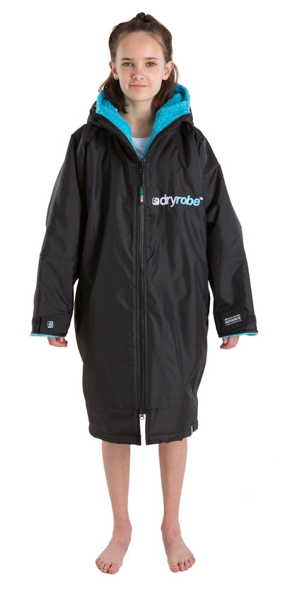 Kids dryrobe Advance Long Sleeve Small Blue Black Front