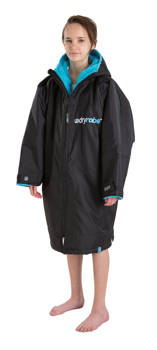 Kids dryrobe Advance Long Sleeve Small Black Blue Side