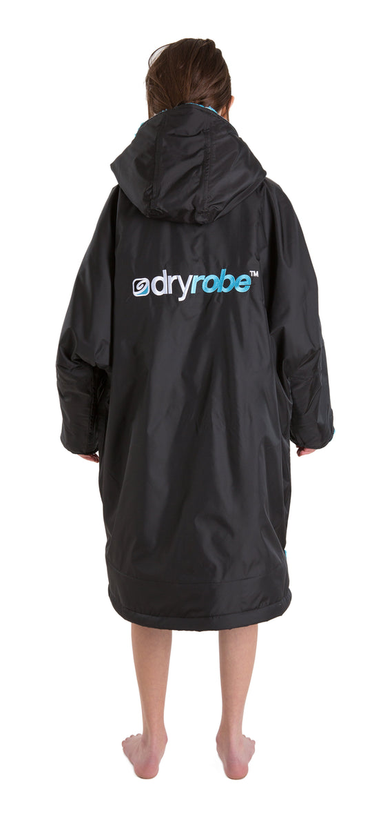 Kids dryrobe Advance Long Sleeve Small Black Blue Back