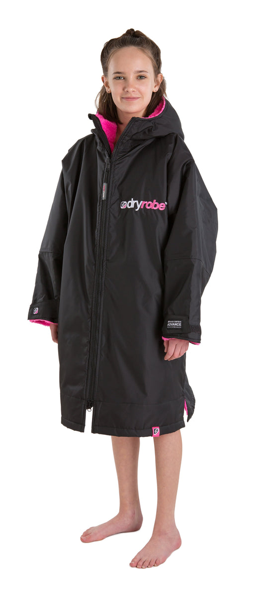 1|S,Kids dryrobe Advance Long Sleeve Black Pink Side