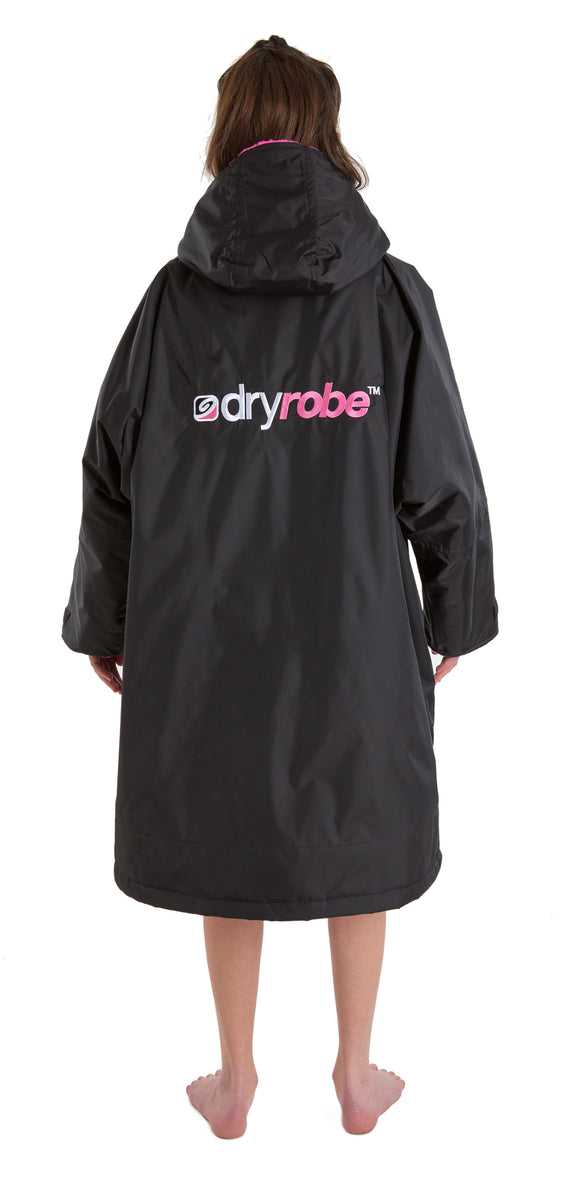 1|S,Kids dryrobe Advance Long Sleeve Black Pink Back