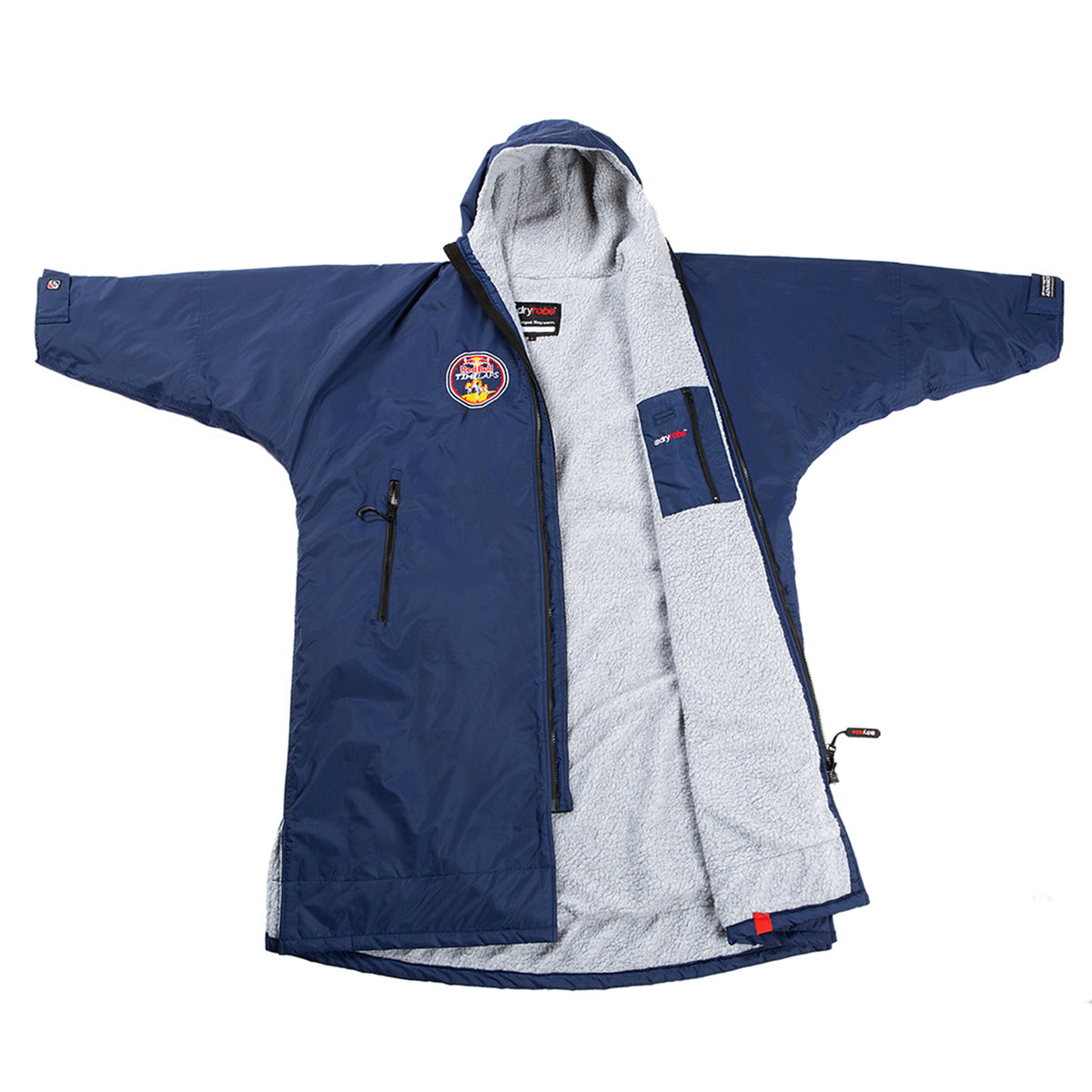 1|M,L, dryrobe Advance long sleeve Large Red Bull Time Laps dryrobe Front Open view