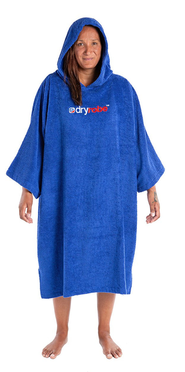 L, Adult organic towelling robe change robe Royal Blue Female Front Hood up